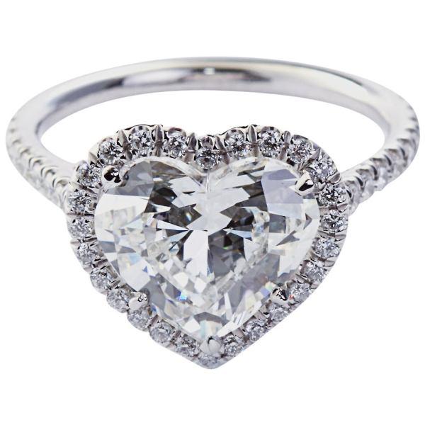 2.70 Carat Heart Shaped Diamond Pave Halo Ring 1stdibs