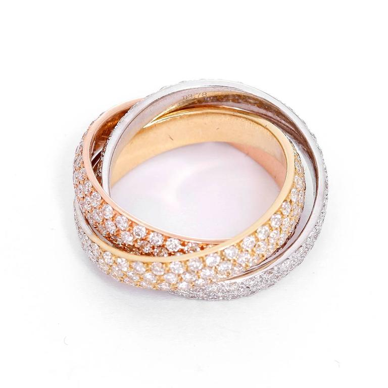 Diamond Tricolor Gold Interlocking Band Rings For Sale At