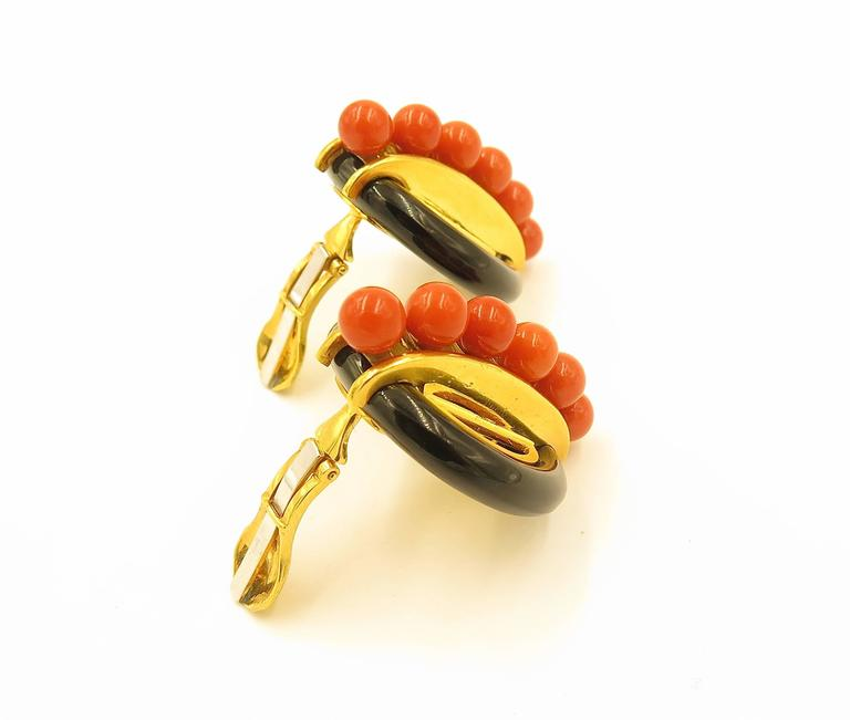 Aldo Cipullo Onyx Coral And Gold Earrings For Sale At 1stdibs