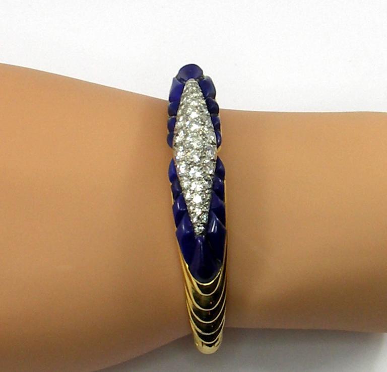French Lapis Diamond Gold Bangle Bracelet For Sale At 1stdibs