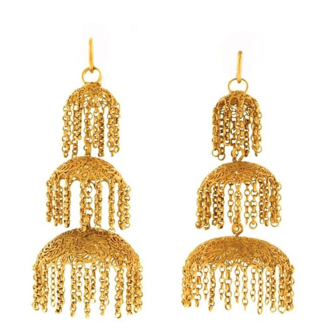 Antique Anglo Indian High Karat Gold Chandelier Earrings 1