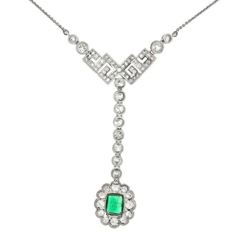 Art Deco Diamond and Emerald Necklace For Sale at 1stdibs