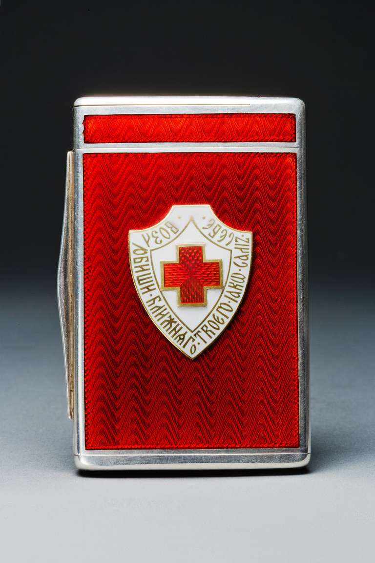 Enameled Cigarette Case with Russian Badge of the Red Cross at 1stdibs