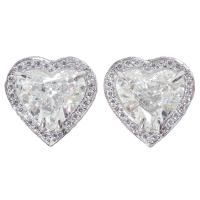 3.02 GIA Heart Shape Diamond Halo Platinum Stud Earrings ...