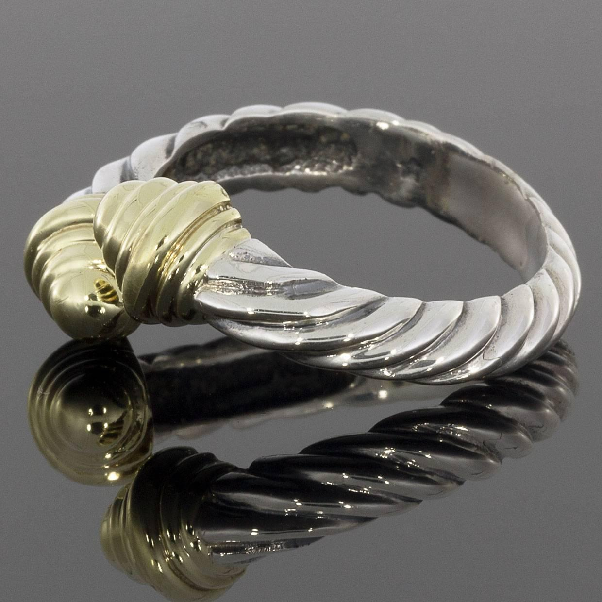David Yurman Classic Cable Bypass Silver And Gold Ring At