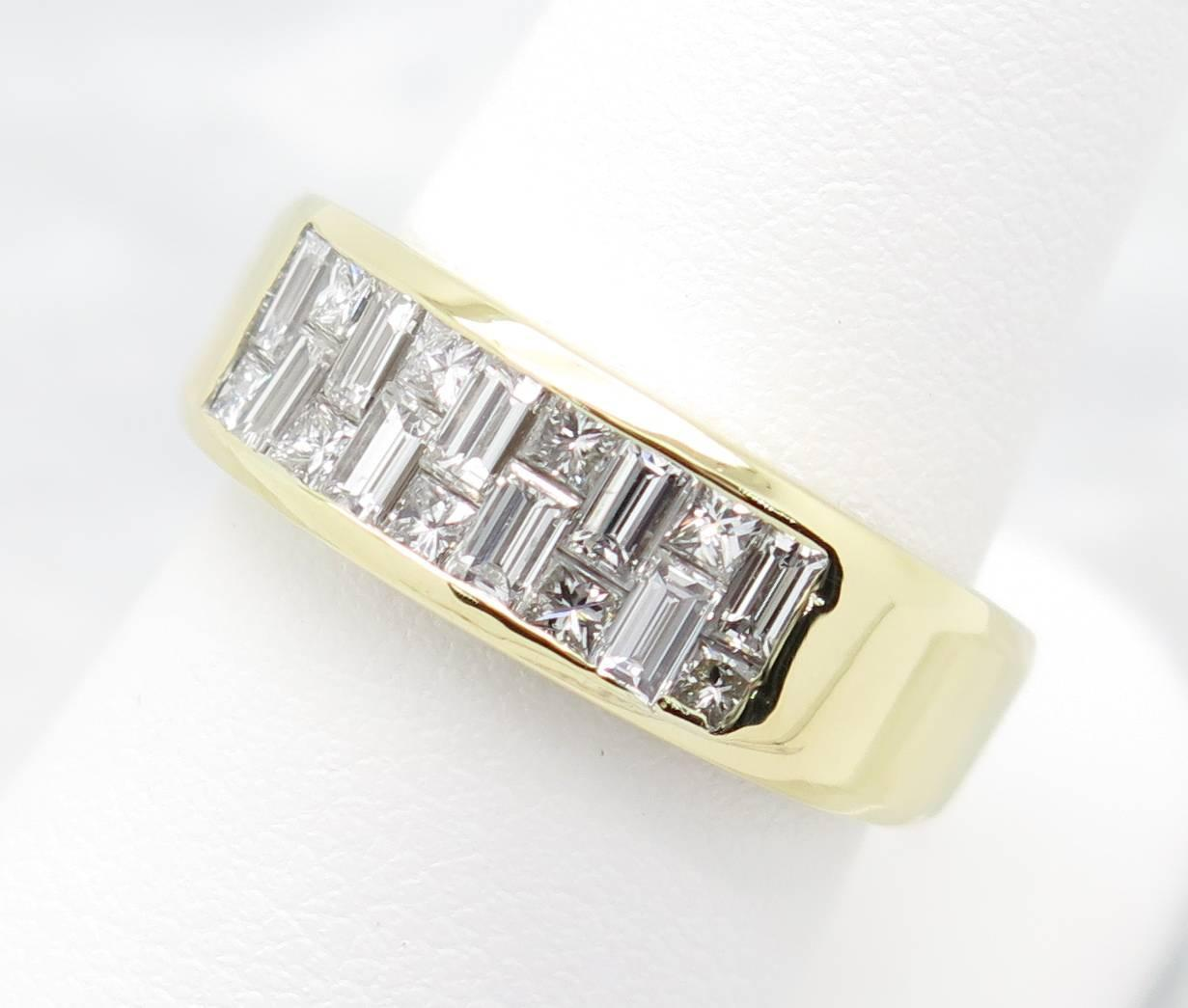 Baguette And Princess Cut Diamond Gold Band Ring At 1stdibs