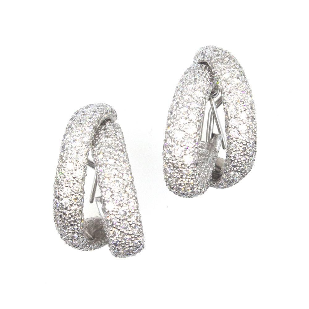 10 Carat Diamond White Gold Double Hoop Earrings at 1stdibs