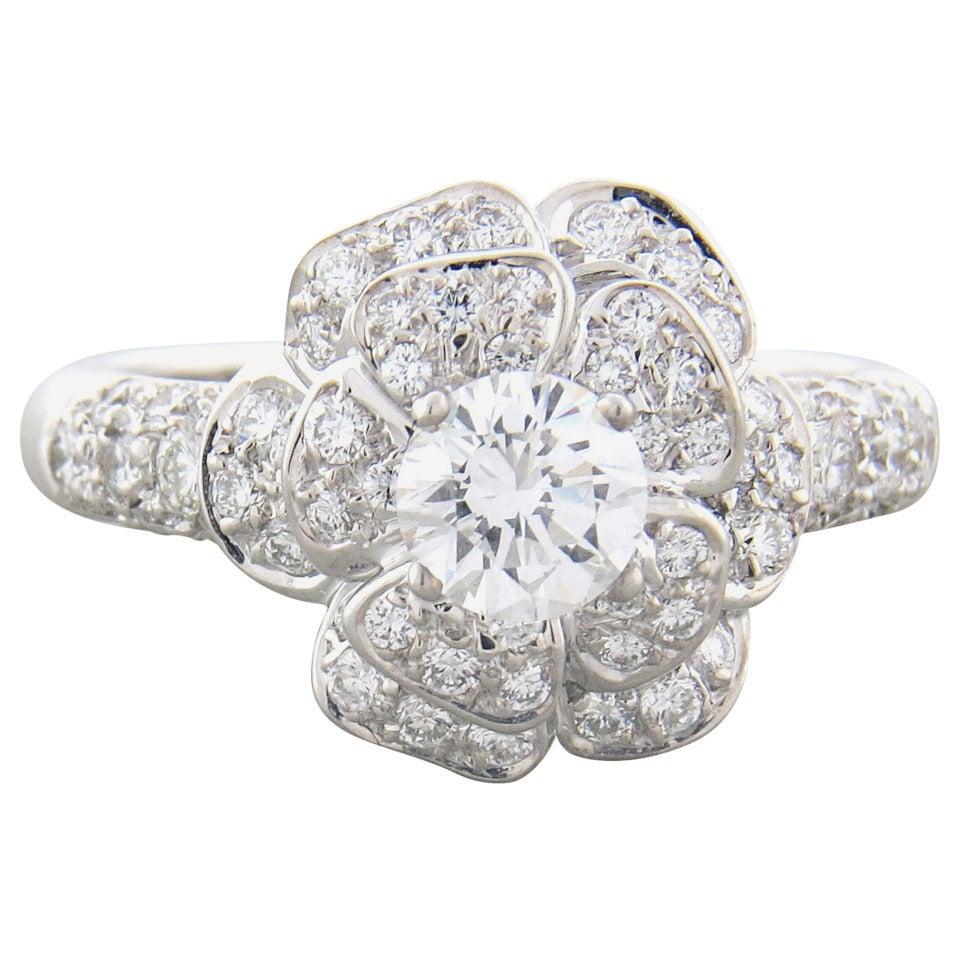 Chanel Camellia Diamond Gold Flower Engagement Ring At 1stdibs