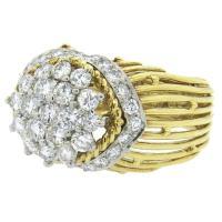 Hammerman Brothers Diamond Gold Platinum Dome Ring at 1stdibs