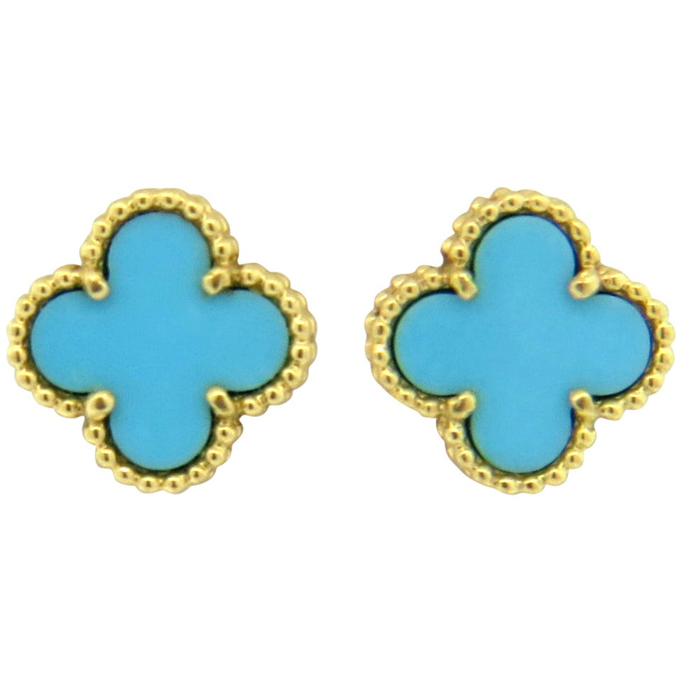 Van Cleef and Arpels Sweet Alhambra Turquoise Gold