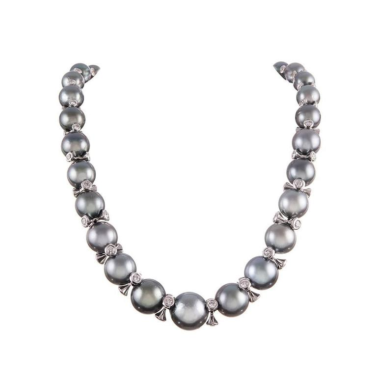 Tahitian South Sea Pearl Diamond Necklace at 1stdibs