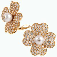Diamond and Pearl Flower Earrings, Signed Van Cleef and ...
