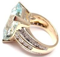 Large Aquamarine Diamond Gold Cocktail Ring at 1stdibs