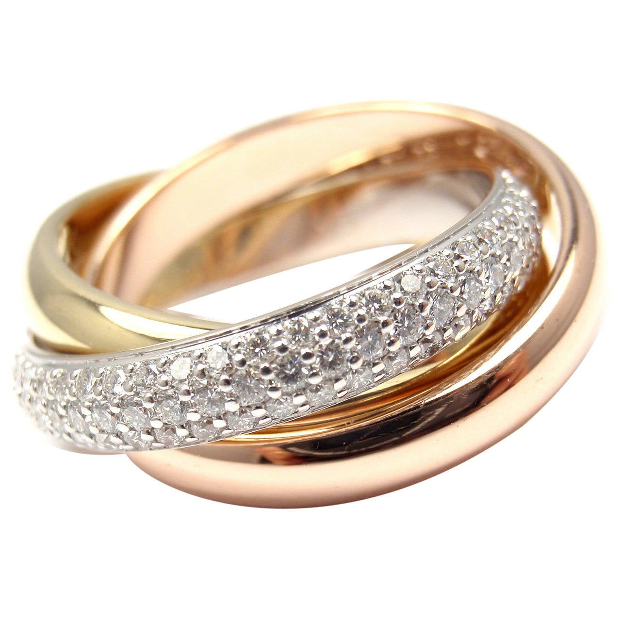 Cartier Trinity Pave Diamond Tri Color Gold Band Ring At
