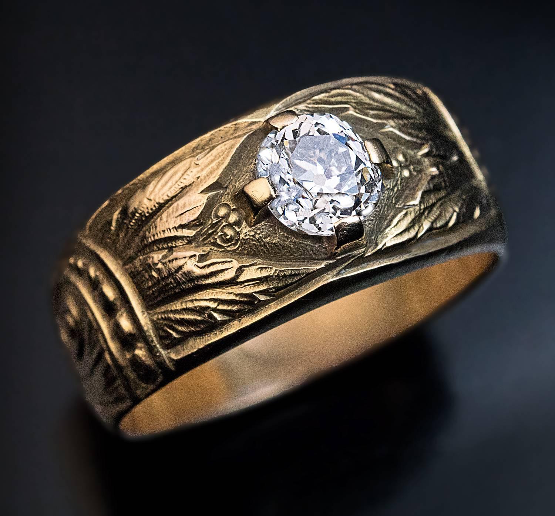 Antique Art Nouveau Diamond Gold Mens Ring At 1stdibs
