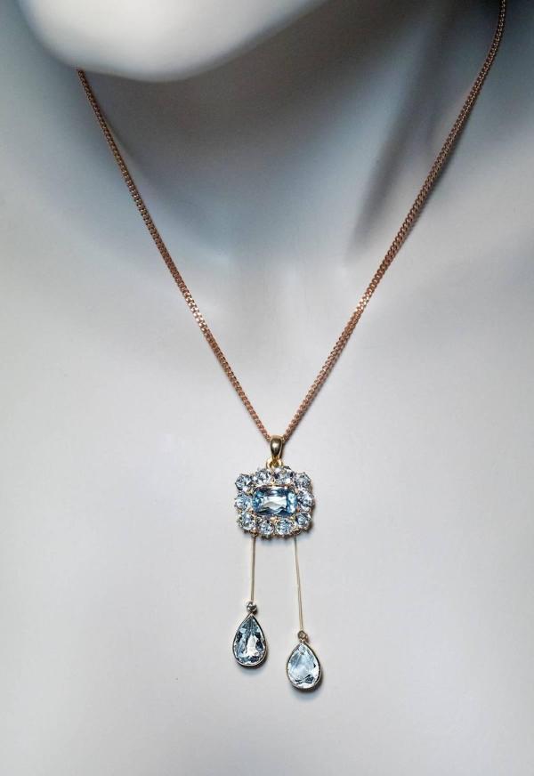 Antique Edwardian Aquamarine Gold Negligee Necklace