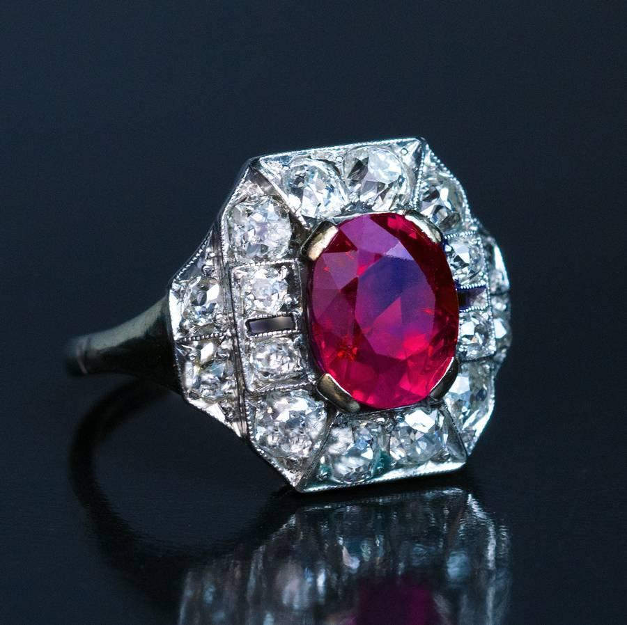 Art Deco 260 Carat Burmese Ruby Diamond Gold Platinum