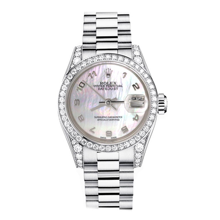 Rolex Ladies White Gold Mother-of-Pearl Dial Diamond Bezel