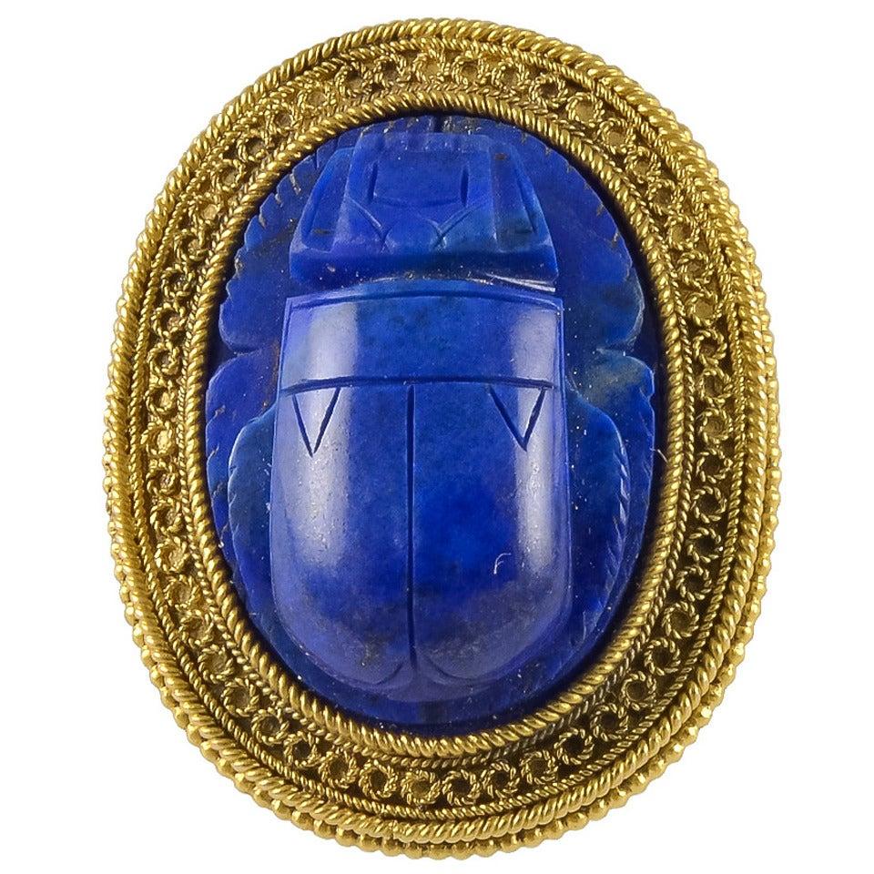 19th Century Etruscan Revival Lapis Gold Scarab Ring At