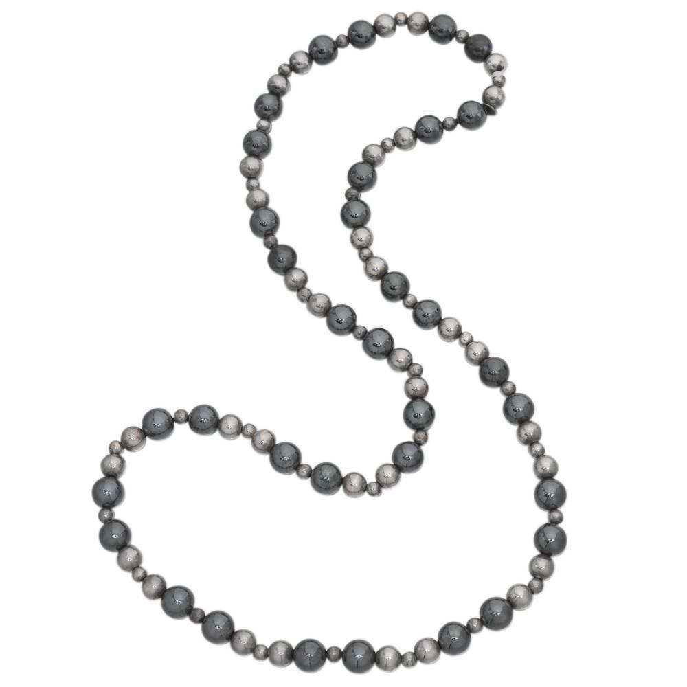 Tiffany and Co. Hematite Bead Silver Necklace For Sale at