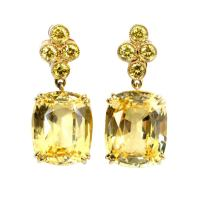 Gold, Yellow Sapphire and Yellow Diamond Earrings at 1stdibs