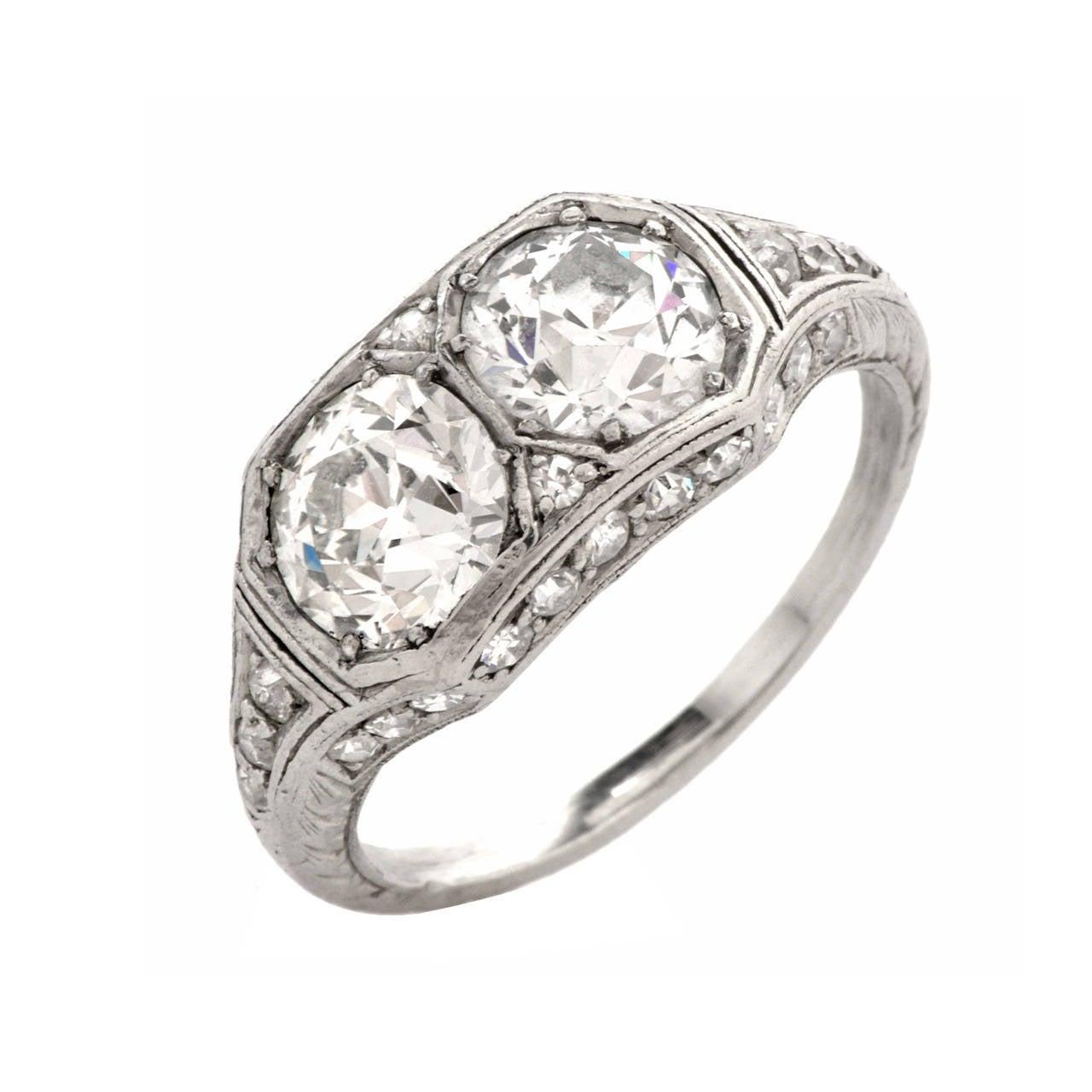 Antique Art Deco Double Diamond Platinum Engagement Ring at 1stdibs