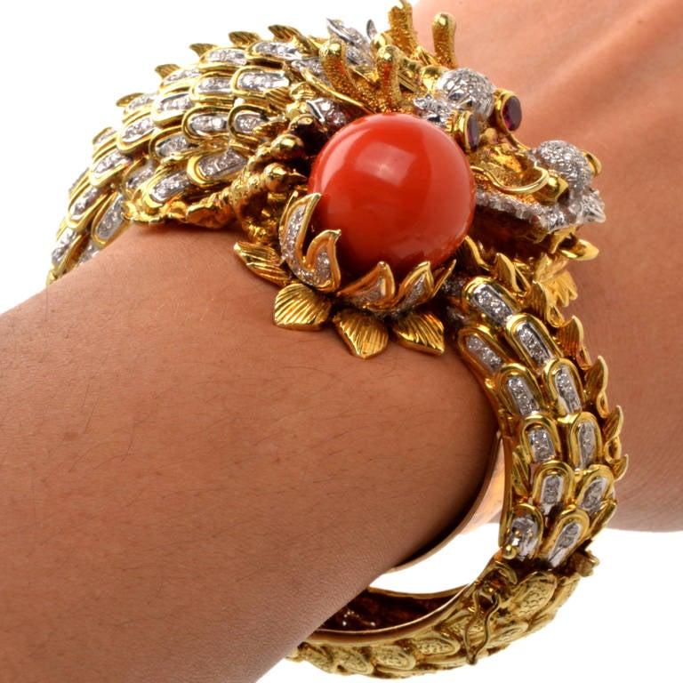 Coral Diamond Gold Dragon Head Bangle Bracelet At 1stdibs