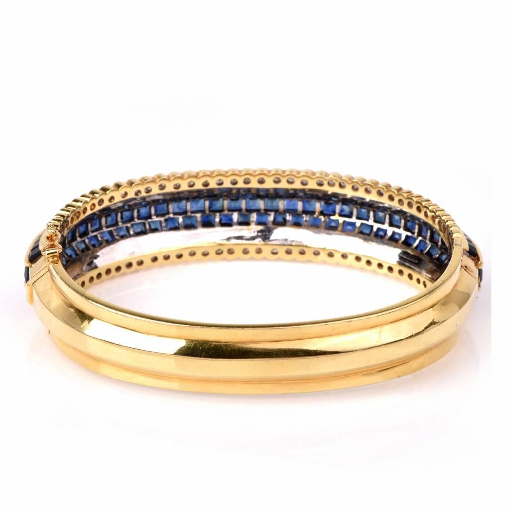 Blue Sapphire Diamond Gold Bangle Bracelet At 1stdibs