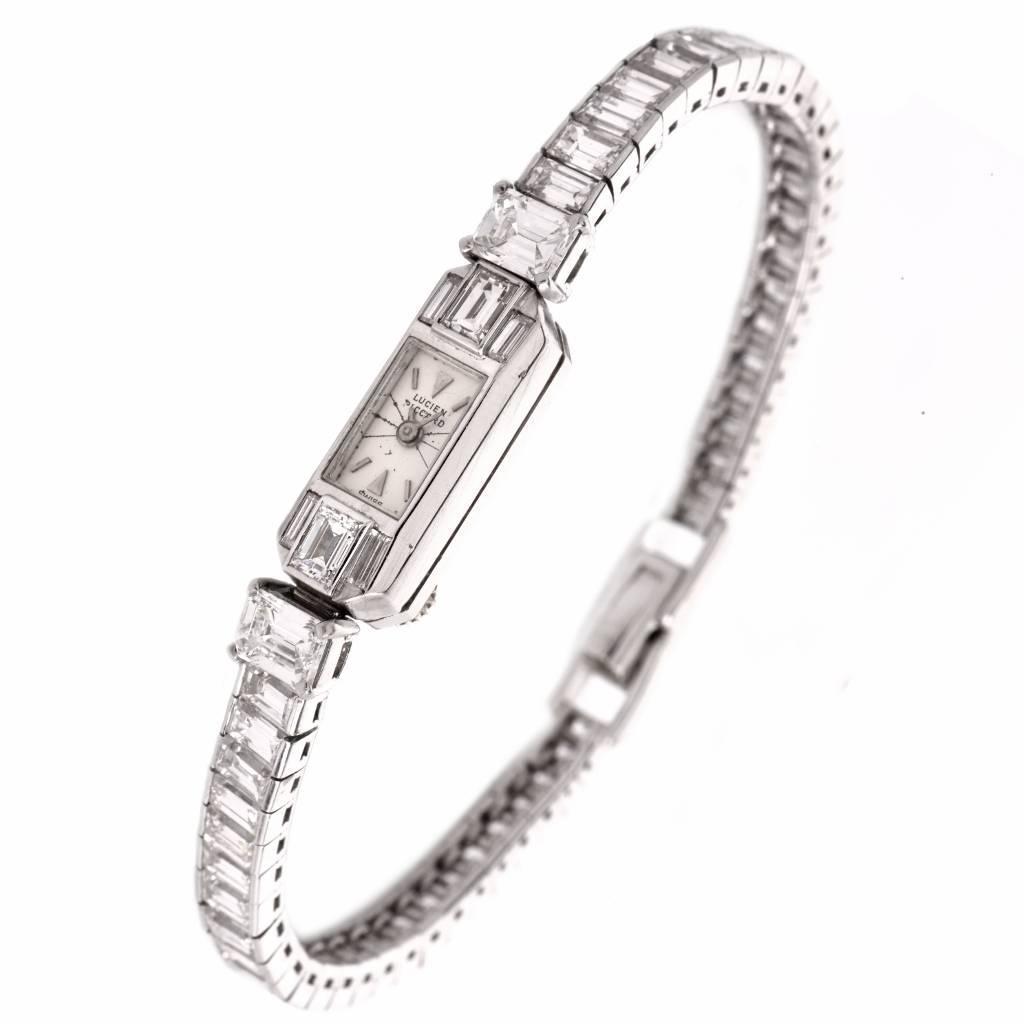 Lucien Piccard Ladies Platinum Emerald-Cut Diamond
