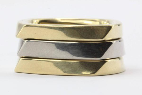 Tiffany And . Frank Gehry Set Of 3 Two Color Gold Torque