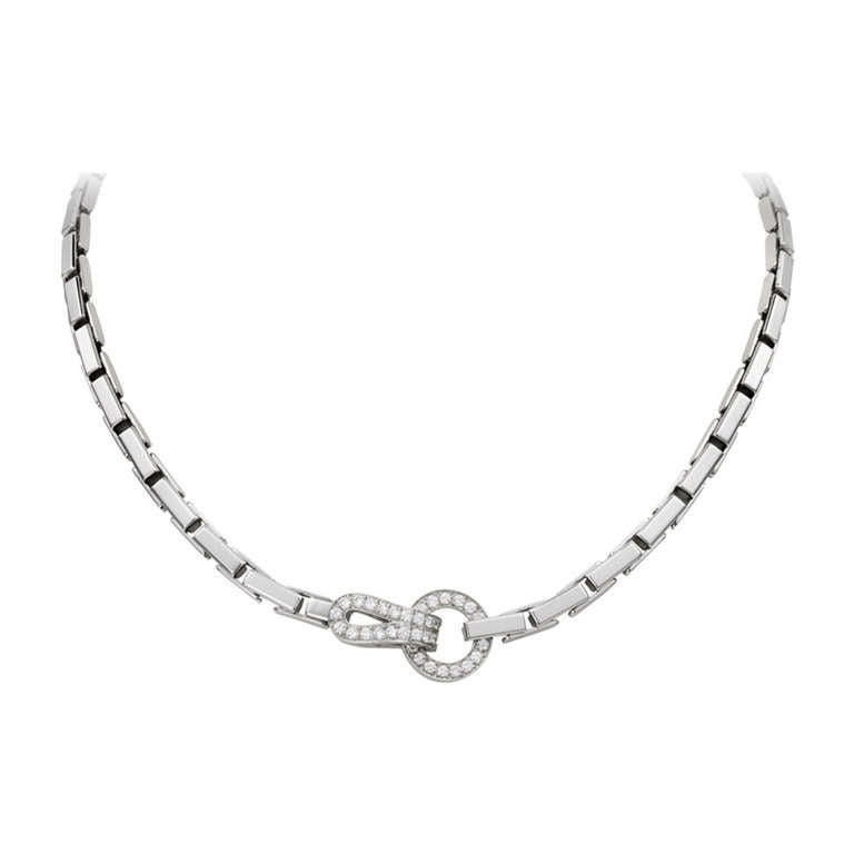 Cartier Agrafe Diamond White Gold Buckle Link Necklace at