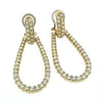Diamond Horseshoe Shaped Drop Hoop Earrings in 18 Karat ...