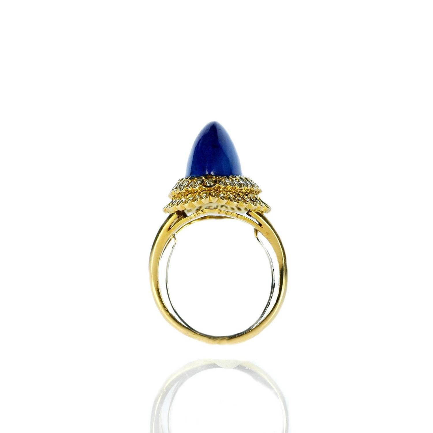 1960s Cartier Cabochon Lapis Diamond Gold Ring For Sale At