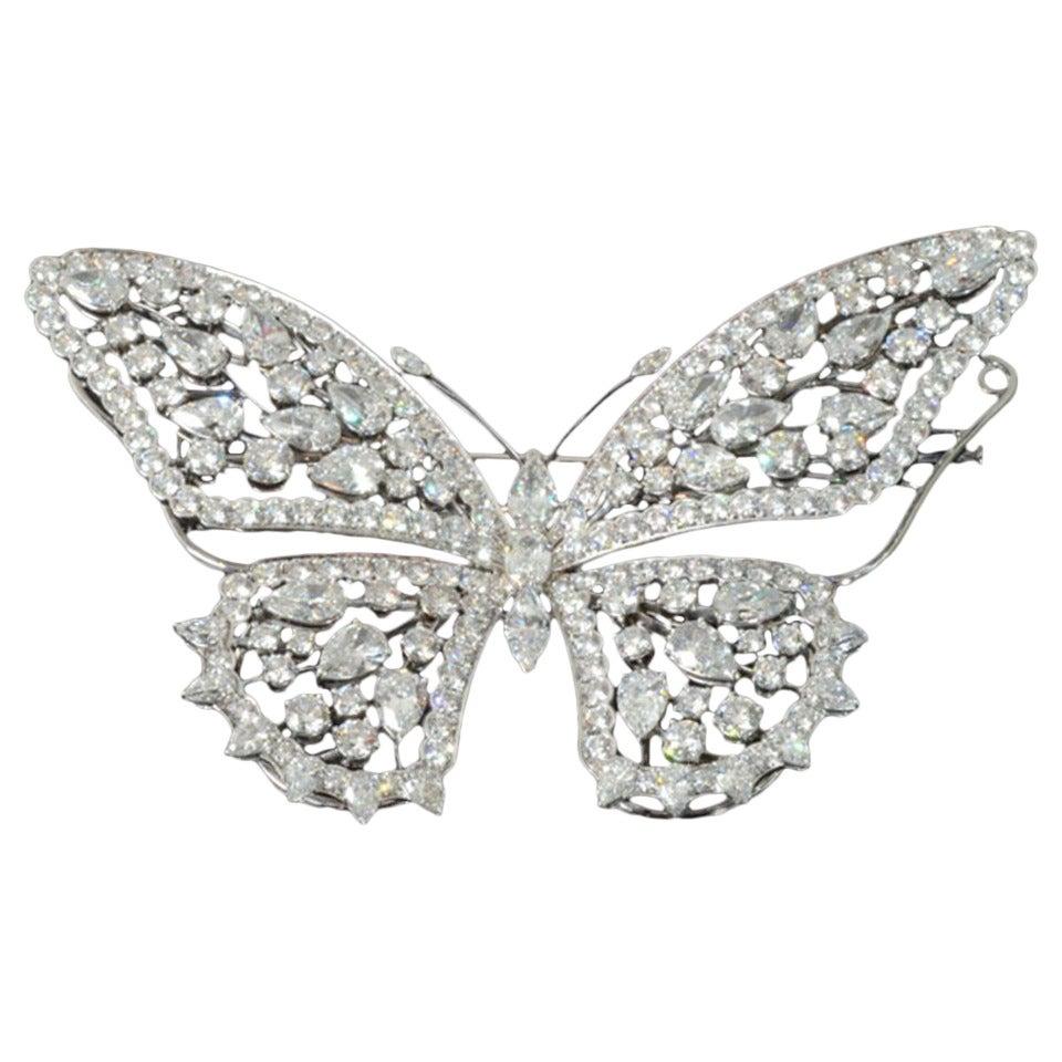 Stunning En Tremblant Diamond Butterfly Brooch by E. Wolfe