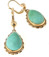 Natural Turquoise Pink Gold Dangle Earrings For Sale at ...