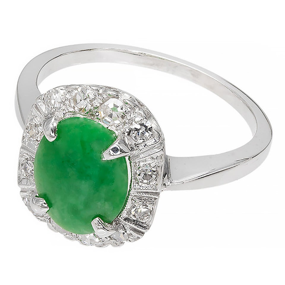 Jadeite Natural Jade Diamond White Gold Ring at 1stdibs