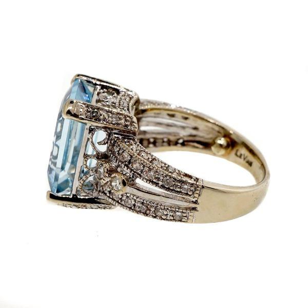Levian Aquamarine Diamond White Gold Ring 1stdibs