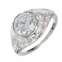 Old European Cut Round Diamond Platinum Ring For Sale at ...