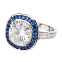 Sapphire Halo Diamond Platinum Engagement Ring For Sale at ...