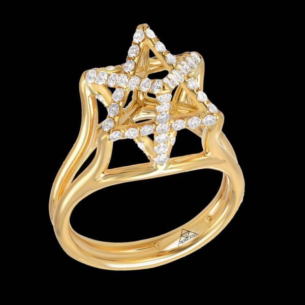 Merkaba Diamond Gold Ring 1stdibs