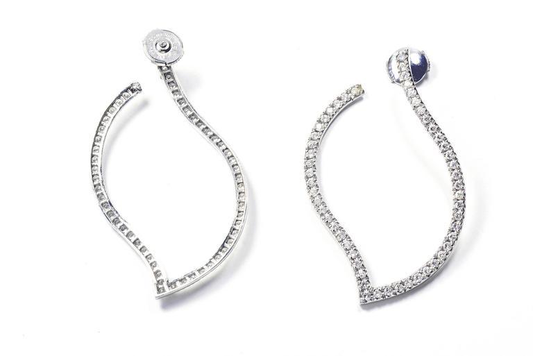 Marion Jeantet Diamonds White Gold Hoop Earrings For Sale