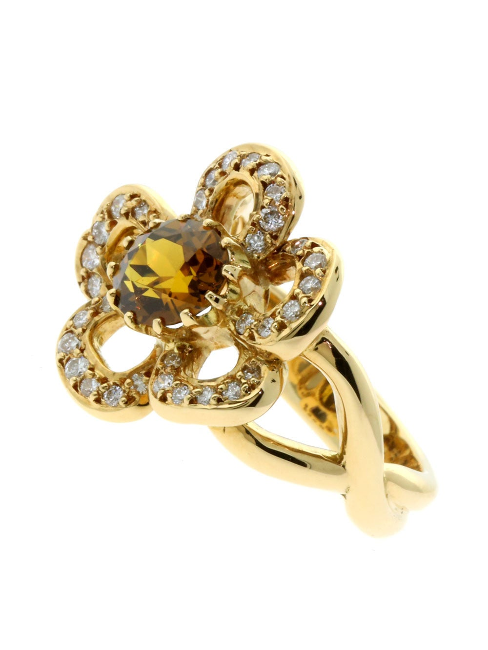 Hermes Diamond Gold Flower Ring For Sale at 1stdibs