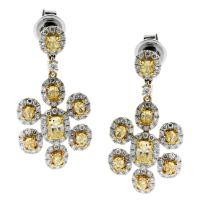 Magnificent Canary Diamond Gold Earrings at 1stdibs