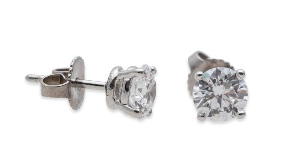 Tiffany And . 1.46 Carat Diamond Stud Earrings