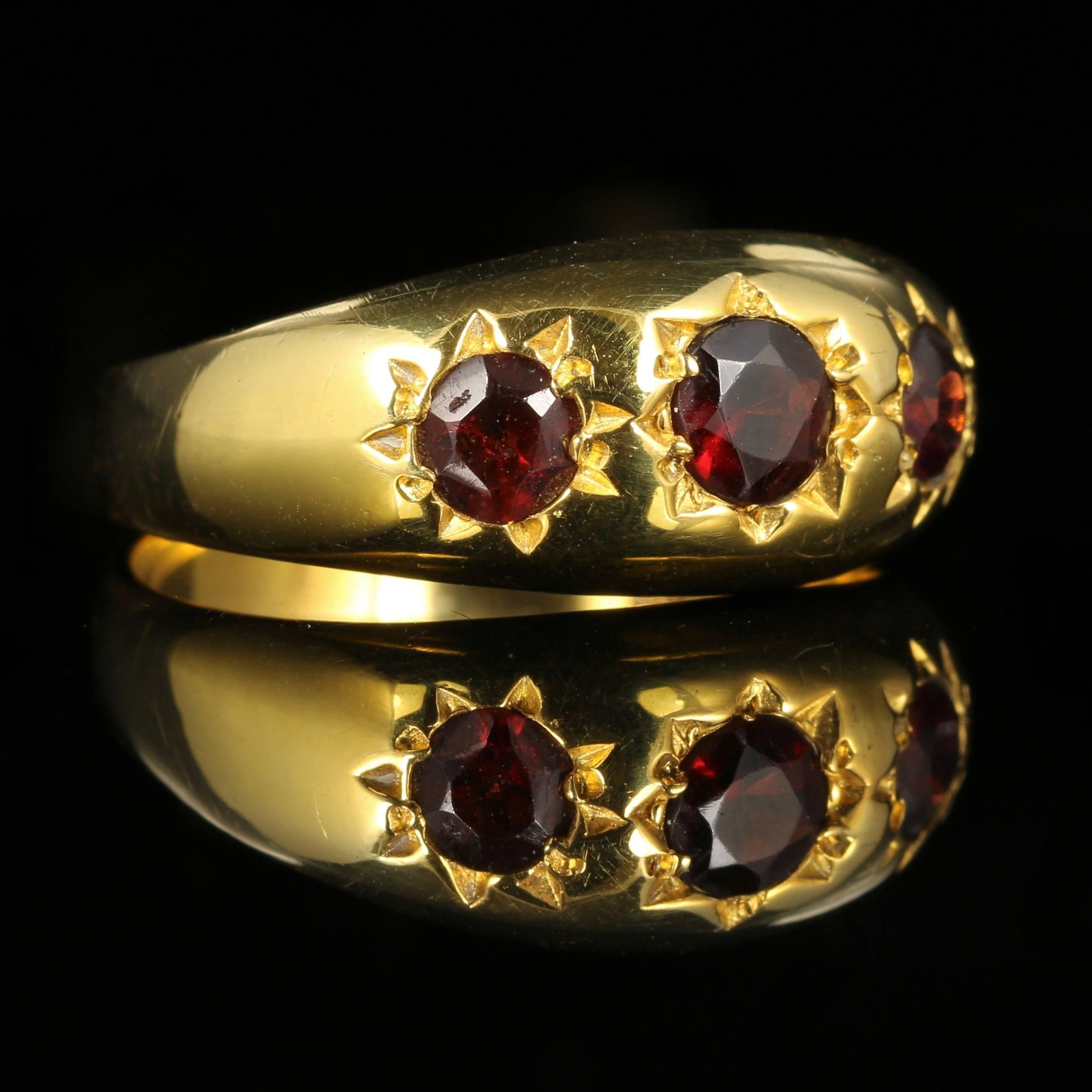 Antique Garnet Ring 18 Carat Gold on Silver circa 1900 at