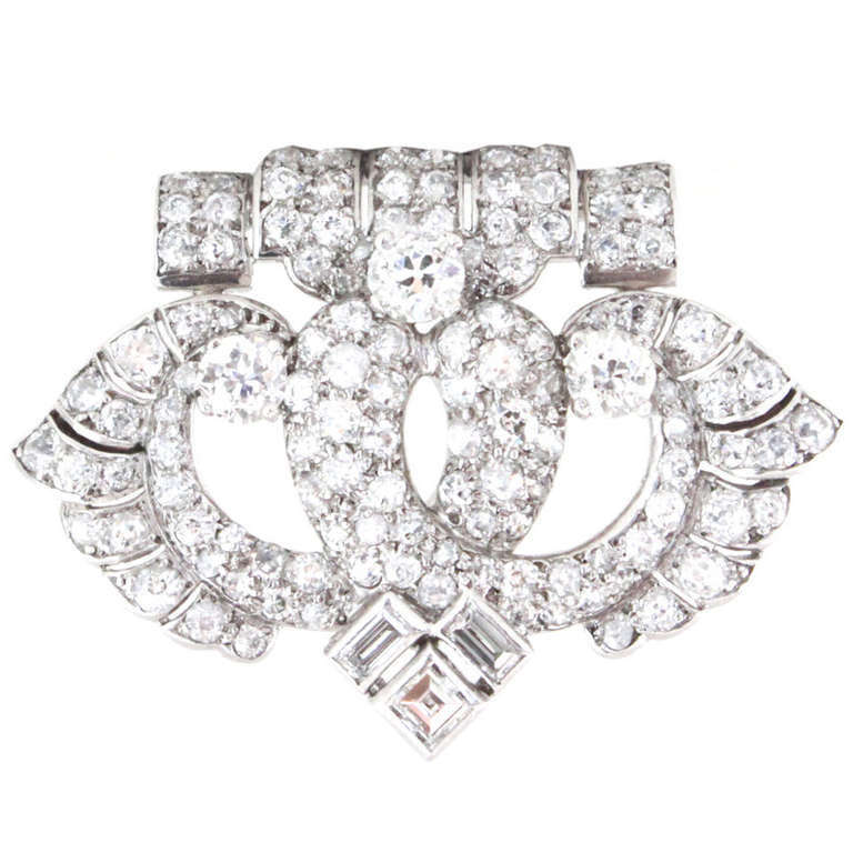 Cartier Art Deco Diamond Platinum Brooch For Sale at 1stdibs
