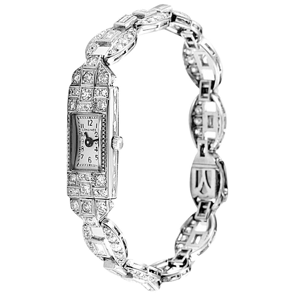 Longines Lady's Platinum Diamond Wristwatch at 1stdibs
