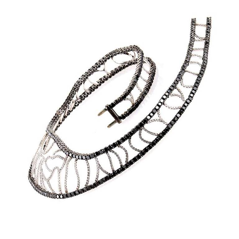 Versace Black and White Diamond White Gold Cuff Necklace
