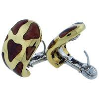 Roberto Coin Enamel Gold Giraffe Earrings at 1stdibs
