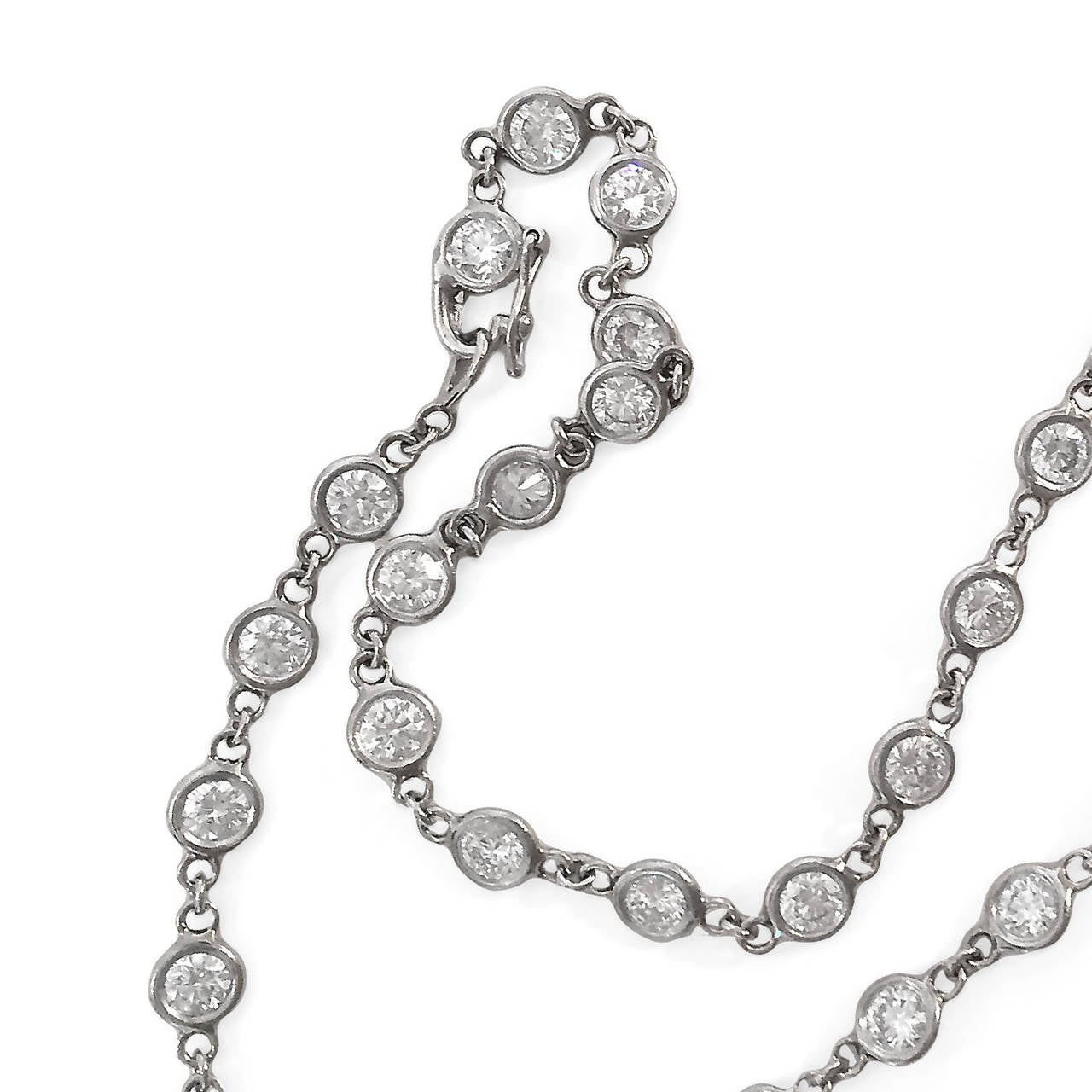 Diamond Platinum 7.77 Carat Necklace For Sale at 1stdibs